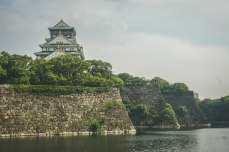 Our first day in Osaka we walked almost 18 kilometers. This is looking at Osaka Castle over the main moat.